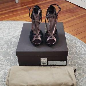 Bottega Veneta Suede Metallic Leather Wedges 38.5